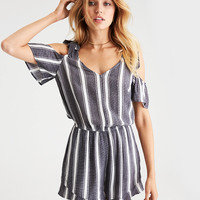 AEO Flutter-Sleeve Cold Shoulder Romper, Navy