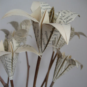 Old book page lily bouquet on natural sticks- upcycled origami- anniversary birthday gift-10 stems