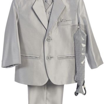 Silver Grey Metallic 6 Pc Formal Dress Suit (Boys 6 months - size 14)