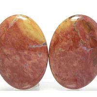 Papaya Jasper Stone Matched Pair Flat Back Oval Cabochons for Earrings Loose Unset Jewels Big Bold Orange and Yellow