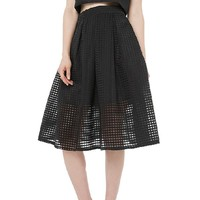 Stylish High-Waisted Solid Color Mesh Skirt For Women