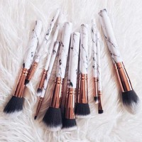 10pcs Marble Grain Makeup Brushes