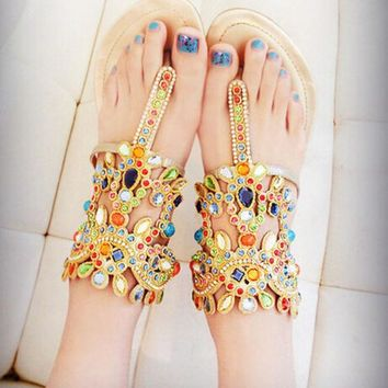 PEAPON Fashion jewels leather sandals