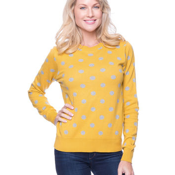Premium Cotton Crew Neck Sweater - Polka Dots Mustard/Heather Grey
