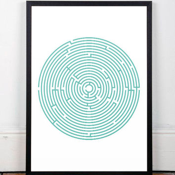 Modern art, Contemporary print, Maze art, Wall art, A3 print, Minimalist artwork, Mid century modern, Round maze art, Office decor, Modern