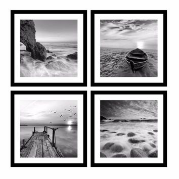 Painting Black And White Wall Art Pictures 4 Panel Modern Modular Pictures Prints on Beach Seascape Painting Sea Boat Sunset