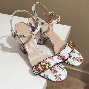 Gucci Floral Pumps Shoes Women Fashion Casual Heels Sandals Shoes White