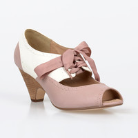 Pink & Cream Ribbon Tie Peep Toe Julia Pumps