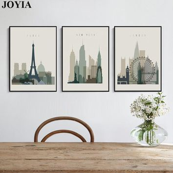 Home Decor Wall Art Abstract City Silhouette Retro Canvas Pictures Paris London New York Decorative Artwork No Frame