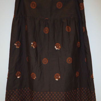 Old Navy Skirt Cotton Female Adult 6 Brown/Orange Dots/Beaded 67-58ON -- New with Defect
