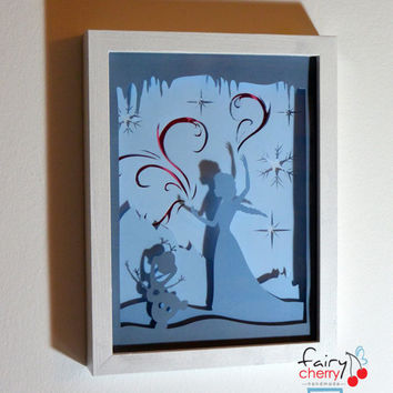Elsa and Olaf by Frozen framed hand paper cut - special wall decor, unique gift, disney home decor, kids room wall decor