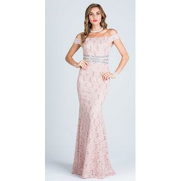 Taupe Embellished Off Shoulder Prom Gown Fit and Flare