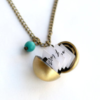 Secret Message Necklaces, antique brass Ball Locket Necklace, custome message, Personalized Locket, mom Jewelry, Boyfriend Girlfriend Gift