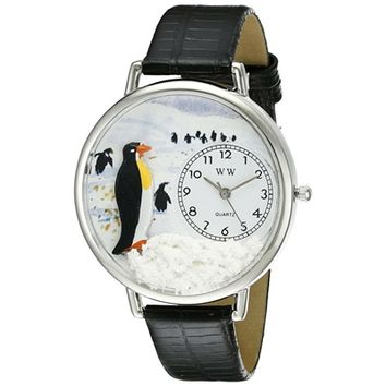 SheilaShrubs.com: Unisex Penguin Black Skin Leather Watch U-0140006 by Whimsical Watches: Watches