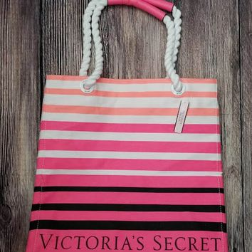 US Victoria's Secret pink striped canvas shoulder bag