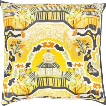 Geisha Throw Pillow Yellow, Black