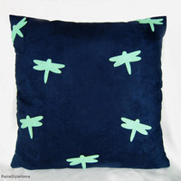 Mint Dragonflies Navy Suede Pillow Cover. Modern Contemporary Cushion Cover. Spring Summer Decorative Throw Pillow