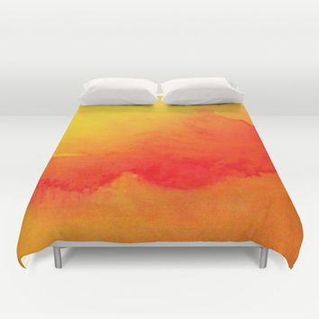 Summer Heat  Duvet Cover by Gréta Thórsdóttir  #sun #coral #orange #fire #watercolor #abstract #red #bedroom