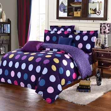 New Colorful Bedding Set Single/Double/King Polyester Circle Comforter Bedclothes Soft Duvet Quilt Cover Pillow Case Sheet