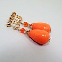 Clip on Earrings, Large Bright Orange Teardrop Earrings, Gold Plated, Made with Vintage Lucite Beads, Chunky Glam Mod Jewelry, Retro Style
