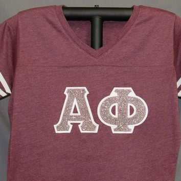 Ladies V-Neck Football Jersey Burgundy with White Sleeve Stripes, Pink Confetti Glitter Sorority Double Stitched Letters