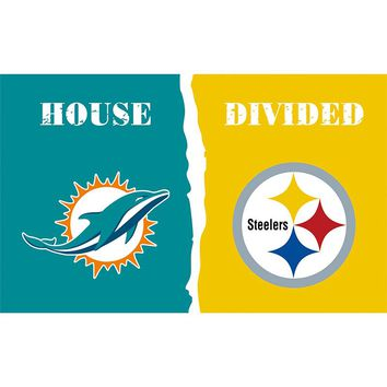 Miami Dolphins VS Pittsburgh Steelers flag 3ftx5ft Banner 100D Polyester Flag metal Grommets 711045