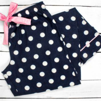 Trendy Navy Flannel Polka Dot Pajama Pants