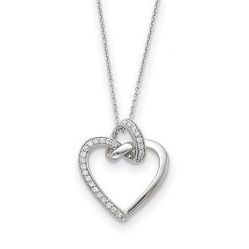 Rhodium Plated Sterling Silver & CZ Friendship Promises Heart Necklace