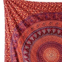 BROWN MANDALA Fabric Elephant Tapestry Bedspread Hippie Bohemian Wall Hanging Throw Boho Ethnic Home Decor Art