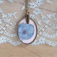 Oval Antique Brass Necklace - Thicker Border - Epoxy Glass - Meconopsis Betonicifolia