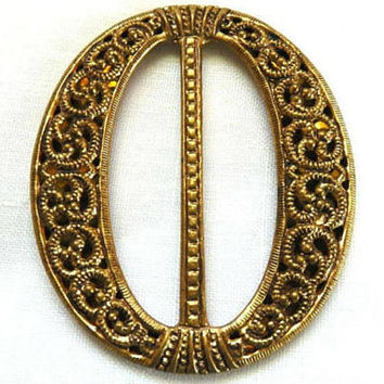 Antique Bohemian / Czech Filigree Open Work Goldtone Metal Buckle, Vintage Czechoslovakia Filigree Buckle