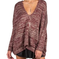 Long Sleeve V-Neck Knit Sweater - Burgundy - Burgundy /