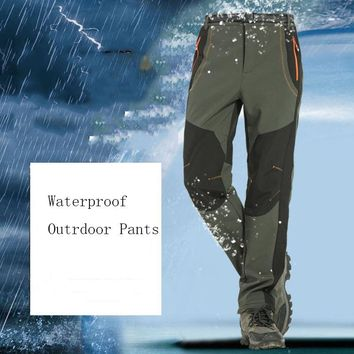 Outdoor Sports Trousers Autumn Winter Fleece Thermal Camping Pants Windproof Breathable Waterproof Hiking Skiing Trousers S-5XL