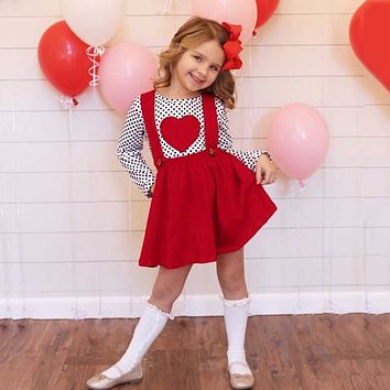 Kids Baby Girls Valentine Sets Outfits Heart-shaped Long Sleeve Tops Suspender Skirts Spring Toddler Girls Clothes Sets Outfits