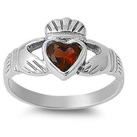 925 Sterling Silver CZ Love Claddagh Simulated Garnet Ring 12MM