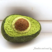 Needle felted avocado. Play food. Kitchen decor. Educational toy.Waldorf. Handmade, 100% wool.