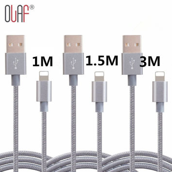 New Qriginal 1M/1.5M/3M Nylon Braided 8 Pin Fast USB Cable Sync Data Charger Cable For iPhone 5 5s 6 6s 7 plus ipad 4 IOS 7 8 9