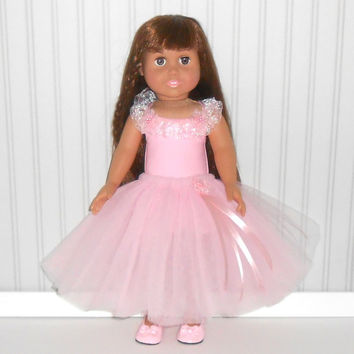Pink Dance Outfit for 18 inch Dolls with Leotard and Ankle Length Tutu American Doll Clothes