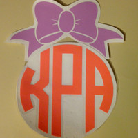 Monogram Car Decal With Bow