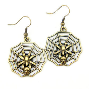 Spider Web Earrings - Antiqued Brass Vintage Style Spider Web Dangle Earrings - Bridesmaids Gifts Idea - CP058