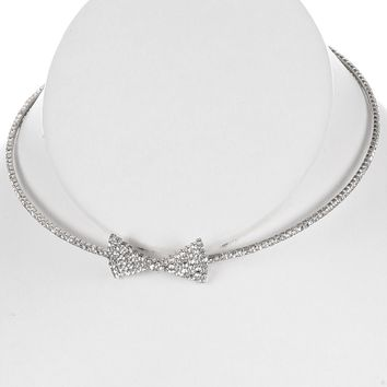Clear Metal Bow Rhinestone Coil Wire Choker Necklace
