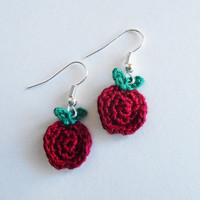 Tiny Apple Crochet Earrings FREE SHIPPING