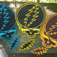 Grateful Dead Stealie patches with matching mini 13 point bolt patch