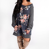 Curvy In Bloom Floral Tunic (Navy)