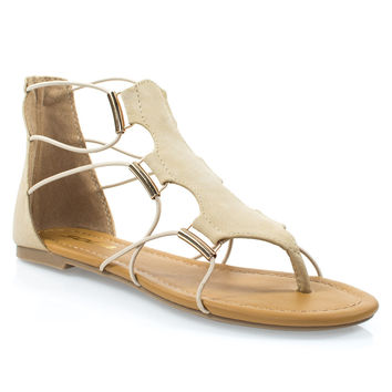 Impact Natural By Soda, Women's Gladiator Open Toe Flat Sandal w Elastic Cord String & Metal Detail