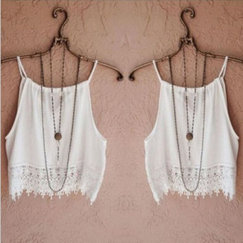 Sexy Women's Lady Summer Sleeveless Camisole Casual Lace Crop Blouse Tops Tank Tee = 5987499393