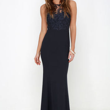 Oak and Elm Navy Blue Lace Maxi Dress