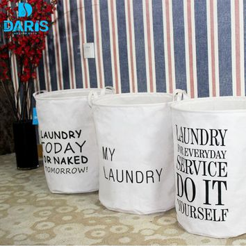 Foldable Fabric Laundry Basket English Letter Folding Canvas Laundry Basket Dirty Dirty Pouch Folding Laundry Storage Basket