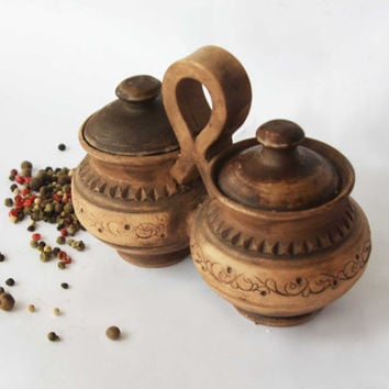Ceramic salt and pepper pots Lidded pepper keeper Spices pot Hand made salt  cellar Salt jar Tanker for spices Salt and pepper set