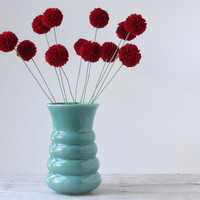 Beautiful Turquoise Vase / Vintage Blue Ceramic Vase / Green Flower Holder